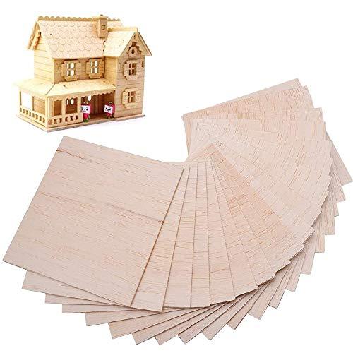 Gobesty Fogli di legno di balsa, 30 pezzi Lastre di legno per artigianato in lamiera Artigianato in legno fai-da-te Perfetto per oggetti artigianali 100 mm x 100 m x 1,5 mm