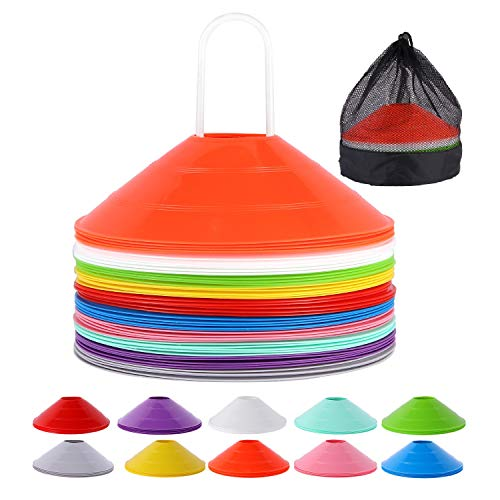 WOWGEEK Disc Cones (10 Colors, Set of 50) Agility Soccer Cones with Carry Bag and Holder for Training,Football, Kids, Sports, Field Cone Markers