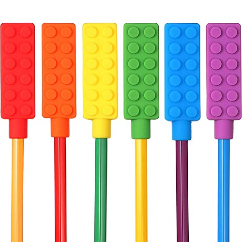 12 Pieces Chewable Pencil Chew Topper Chewy Sensory Fidget Toppers for Kids, Autism and Oral Motor Special Needs