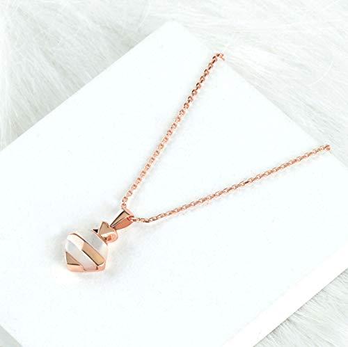 HXUJ Collar geométrico de 18 Quilates de Oro Rosa Colgante de Diamante Mujeres