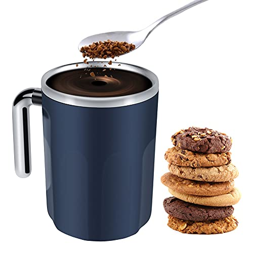 DricRoda Self Stirring Coffee Mug, Self Mixing Stainless Cup, Office Smart Auto Hot Drink Mixer, No Battery No Spoon Specifically for Hot Cocoa,Chocolate,Mocha,Matcha,Milo,Latte,Tea, Midnight Blue
