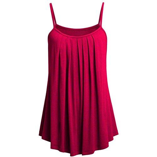 VEMOW Sommer Frauen Damen Elegante Lose Leibchen Damen Einfarbig Tank Tops Plus Größe S ~ 6XL Vintage Tunika Hemd T-Shirt 44 DE/XL CN, G