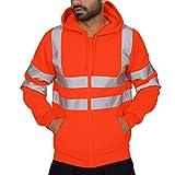SHOBDW Hombres Trabajo en la Calle Jersey de Alta Visibilidad al Aire Libre Tallas Grandes Camisetas de Manga Larga Sudadera Suelta Blusa Otoño Invierno Abrigos de Gran tamaño(Naranja,XL)