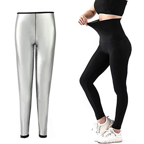 HAOXIU Damen Schwitzhose Zum Abnehmen, Schwitz Hosen Yogahose Damen Hohe Taille lang Sport Leggins Stretch-Hose Sauna Hosen Schwitzhose für Fettverbrennung(2XL)