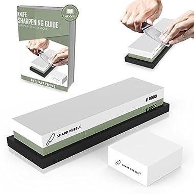 Premium Sharpening Stone 2 Side Grit 3000/8000 Whetstone | Best Kitchen Knife Sharpener Waterstone with Non-Slip Bamboo Base & Flattening Stone