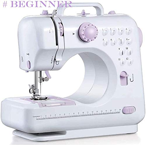 Top-Spring Beginner Electric Overlock Sewing Machine-Portable 12 Stitches 2 Speeds with Foot Pedal Adjustable Small Household Handheld Sewing Repair Machine-for Family Sewing Basic DIY