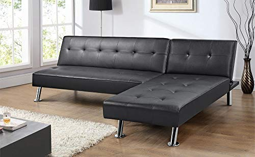 Yaheetech Black Faux Leather Sofa Sleeper Bed 2