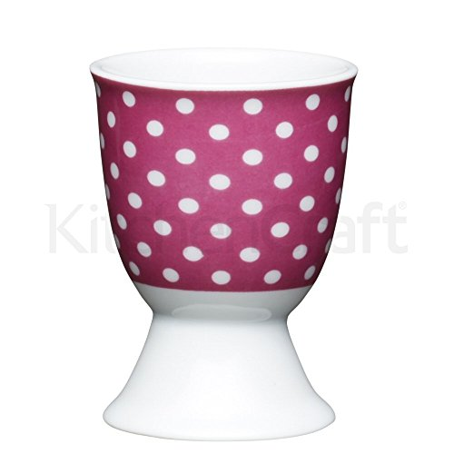Kitchen Craft KCEGGPOLKAPNK Coquetier en Porcelaine, Rose, 9 x 12 x 16 cm