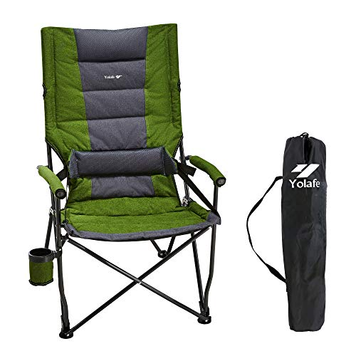 Camping Chairs Folding Portable Lawn Chair Padded Hard Armrest Ergonomic High Back Support 300lbs Oversize Heavy Duty with Carry Bag