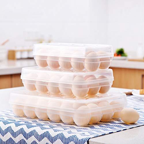 Jiacheng29_ Porta Huevos, Caja De Almacenamiento De Huevos 10/15/24 Girds Fresh Keeping Plastic Clear Egg Container Organizer Case para Refrigerador Un Color 24 Rejillas