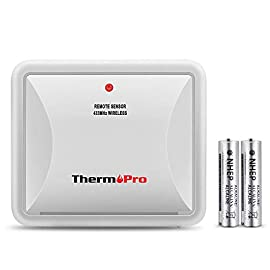 ThermoPro TX-2 Fitting Rainproof Transmitter Additional Outdoor Sensor for ThermoPro TP60S/TP62/TP63/TP63A/TP65A/TP67A… 4 Universal outdoor sensor is compatible with ALL ThermoPro indoor outdoor thermometer hygrometer -- TP60S/TP62/TP63/TP63A/TP65A/TP67A【Accessory Only, Can NOT Be Used Alone】 With additional remote sensors, track environmental conditions in 4 locations at most; The sensor's initial channel is channel ONE, when connecting, please ensure to slide button on the back to set Channel 1, 2 or 3 Place anywhere with the tabletop and wall-mountable design; Requires 2 AAA batteries (Batteries included)