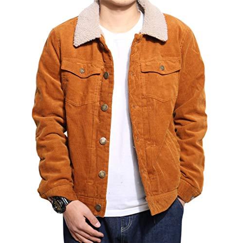 chouyatou Men's Winter Retro Fur Neck Sherpa Lined Warm Corduroy Trucker Jacket (Large, Brown)