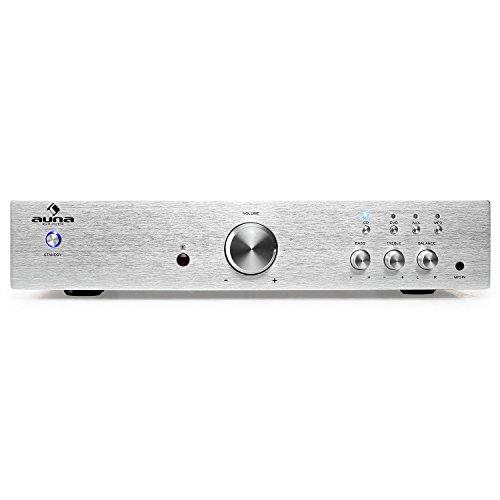 auna AV2-CD508 - Amplificador estéreo HiFi , Home Cinema con Ecualizador de 2 Bandas , Equipo de música 600 W , AUX , 3 in RCA , 1 out RCA , Mando , Plata