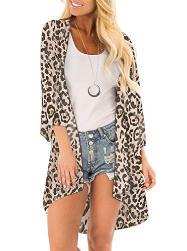 Women Floral Print Kimono Cover Up Sheer Chiffon Blouse Loose Long Cardigan Leopard Print Large