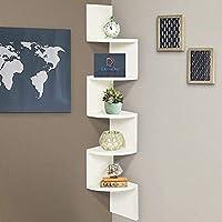 DecorDen Wooden Zigzag Floating Wall Mount Wall Shelf Corner Stand Shelf Storage Organizer (White)