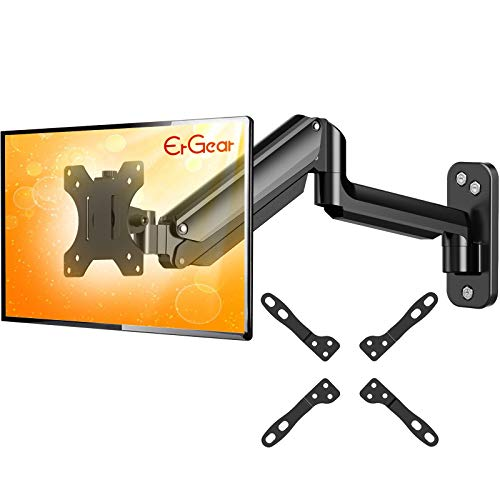 ErGear Monitor Wall Mount Bracket for 17 to 32 Inch Screens, Height Adjustable Full Motion Articulating Gas Spring Single Stand w/Extended Arm Extends Up to 18.3 Inch Fits Four VESA Mounting Sizes