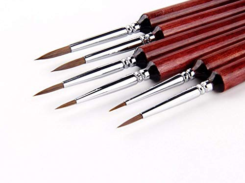 Fuumuui Set di pennelli miniaturizzati miniaturizzati Capelli di zibellino donnola per Acquerello, Olio, Pittura acrilica, Unghie, Pittura con Numeri, Viso, Pittura in Scala