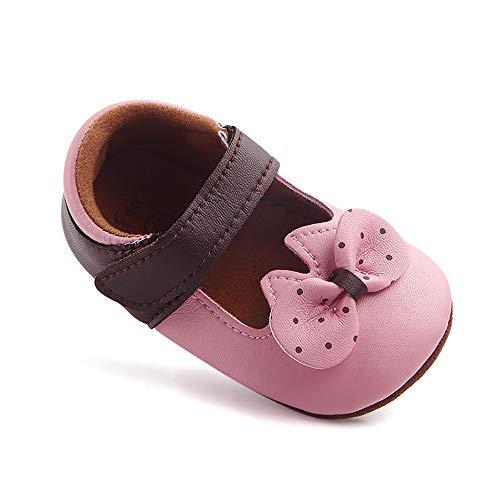 MK MATT KEELY Babyschuhe mit rutschfester weicher Sohle, PU-Leder, Prinzessin, Schleife, Babybett, Babyschuhe, Mokassins, Lauflernschuhe, Pink - rose - Größe: 3-6 Monate