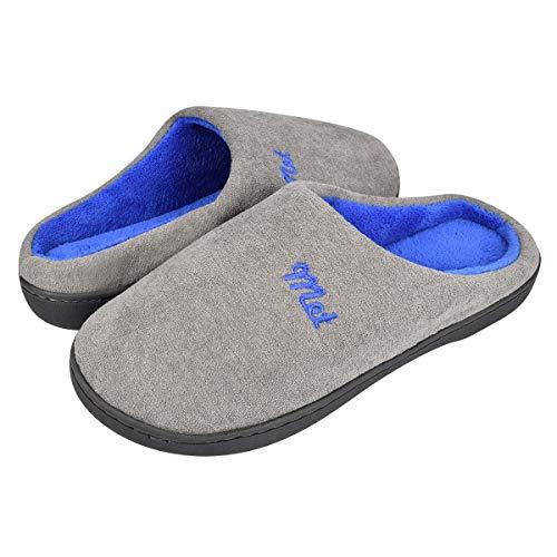 Tuopuda Hombres y Damas Caliente Zapatillas de Espuma de Memoria Zapatillas de Casa Zapatillas Mocasín con Forro Polar Zapatos de Interior Antideslizantes para Exteriores