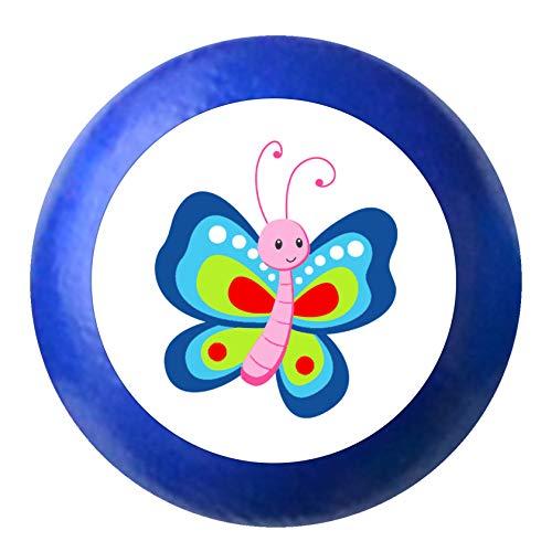 Kommodenknauf Schmetterling rot blau orange ultramarinblau Holz Kinder Kinderzimmer 1 Stück Waldtiere