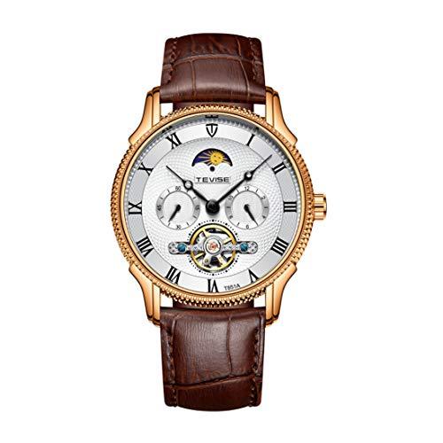 COFFEE CAT Herren Uhr Automatische Mechanische Skelett-Armbanduhren FüR Herren Mit Automatikaufzug Und Wochenfunktion Automatikaufzug Schwarzes Armband Aus Schwarzer Uhr