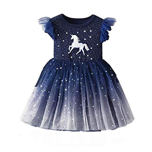 DXTON Litter Girls Tutu Dresses Short Sleeves Summer Party Birthday Dresses SH4995 5t