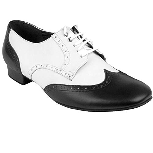 Men's Ballroom Salsa Standard & Smooth Dance Shoes Black Leather & White Leather PP301EC Comfortable - Very Fine 9.5 M US [Bundle of 4]