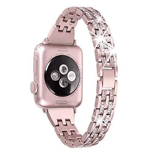 Secbolt Bling Bands Compatible Apple Watch Band 38mm 40mm iWatch Series 5/4/3/2/1 Diamond Rhinestone Metal Jewelry Wristband Strap, Rose Gold