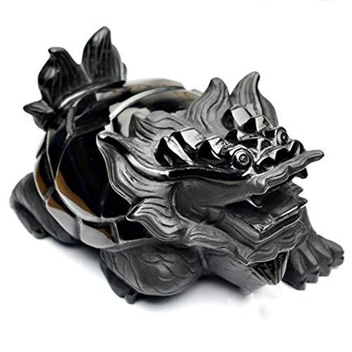 QULONG Estatua de Tortuga dragón de obsidiana, símbolo de decoración del hogar, longevidad, Mejor Regalo de felicitación para inauguración de la casa, Adornos de Feng Shui
