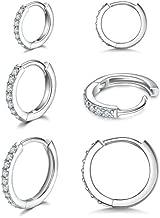 925 Sterling Silver Small Hoop Earrings Cubic Zirconia Huggie Hoop Earrings,3 Pairs Cartilage Piercing Earrings Ear Cuff Tiny Hoop Earrings for Women Girls Men 8mm 10mm 12mm