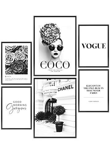 Heimlich® Premium Poster Set | Stilvolles Set mit passenden Bilder als Wohnzimmer Deko | 2 x DIN A3 & 4 x DIN A4 - ca. 30x42 & 21x30 | ohne Bilderrahmen » Coco Schwarz Weiß «
