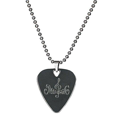 PUNK Halskette, Anhänger Plektron, aus Edelstahl für E-Bass, -Gitarre, kreatives Design Stainless Steel Music