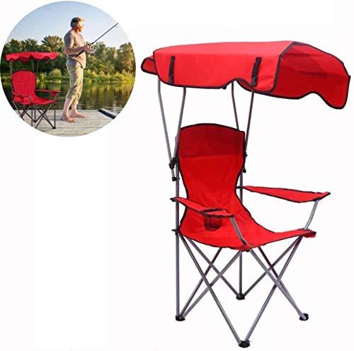 DIMPLEYA Chaise Pliante de Camping chaises de pêche Portable auvent Soleil Canopy et Mallette de Transport pour Sea Garden Courtyard,Rouge