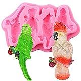 FGHHT Moldes de Silicona de pájaro 3D, Molde de Chocolate para Fondant de Loro, Herramientas de decoración de Pasteles para Hornear de Cocina DIY, moldes de Arcilla de Caramelo