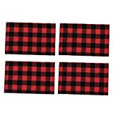 ZIYUMI Christmas Placemats Plaid Table Mats Buffalo Check Cotton Red Black Kitchen Decorations for Fall Holiday Dining Table 4pcs