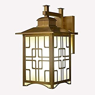 Chinese Creative Outdoor Waterproof Copper Art Wall Lamp Square Exterior Patio Garden Villa Fence Stairs Decor Glass Shade...