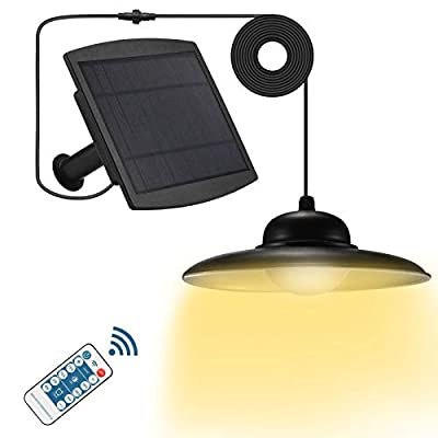 Viewsun Solar Lights Outdoor,IP65 Waterproof 16.4Ft Cord Remote Control Led Outdoor Lights Pendant Light Solar Powered for Home Yard Garden Decorate-Three Lighting Modes Warm White Cool White
