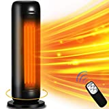 Space Heater - LONOVE 1500W Ceramic Tower Heater PTC Fast Heating Portable Electric Space Heater for Bedroom Office Desk Small Large Room Indoor Heaters with Oscillating Thermostat Remote ECO Mode