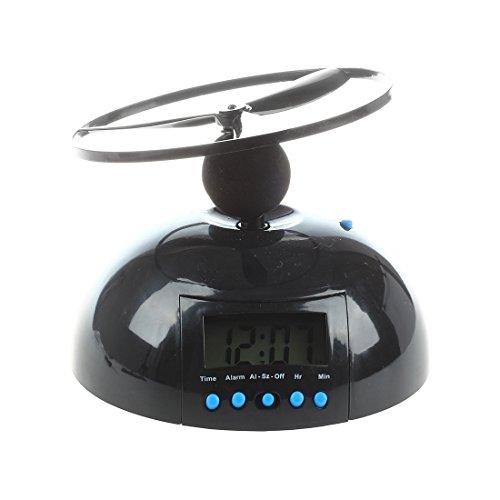 Viudecce R Kuppel Fliegender Wecker Hubschrauber Uhr - Schwarz