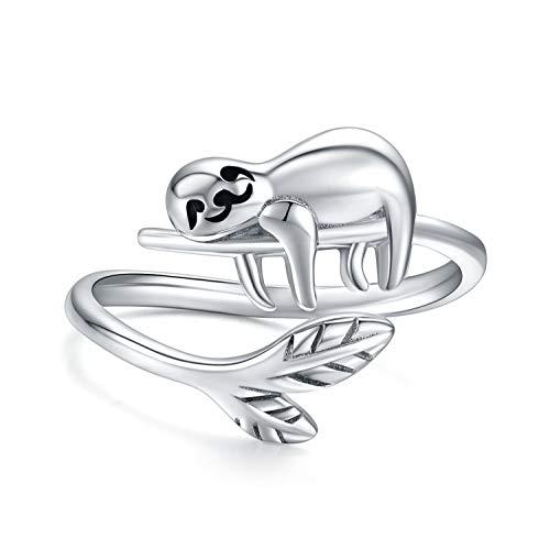 Faultier Ring 925 Sterling Silber Lächeln Faultier offenen Ring Süße Tier Ring für Damen Mädchen,Faultier Geschenk