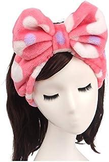 Shintop Women Fashion Lovely Soft Carol Fleece Bowknot Bow Makeup Cosmetic Shower Elastic Hair Band Hairlace Headband (Red)