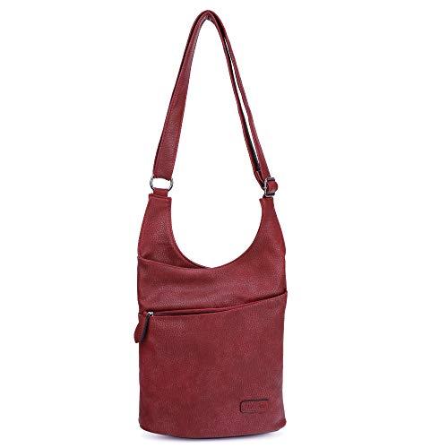 CASAdiNOVA ® Vegane Damen Hand-Tasche in rot, elegante Frauen Schulter-Tasche mit Reißverschluss, moderne und sportliche Umhänge-Tasche aus Leder