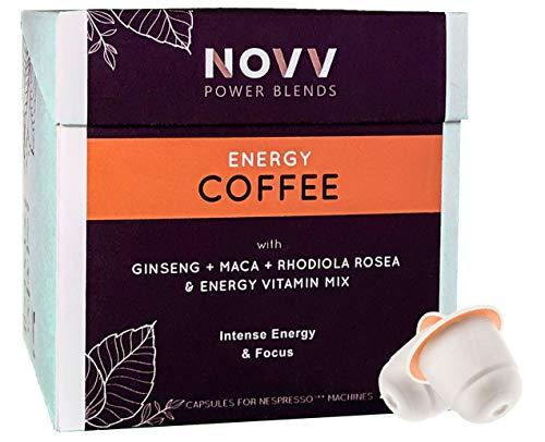 NOVV ENERGY COFFEE - MAX Energy Drink Kaffee-Kapseln - Koffein+, Ginseng, Maca, Rhodiola Rosea, Hesperidin und Vitaminen - 32 Kompostierbare Kapseln (2 Boxen) für Nespresso® Maschinen