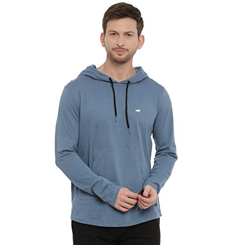 Bushirt Men's Solid Regular Fit T-Shirt (HDFS90524967_Turquoise Blue S)