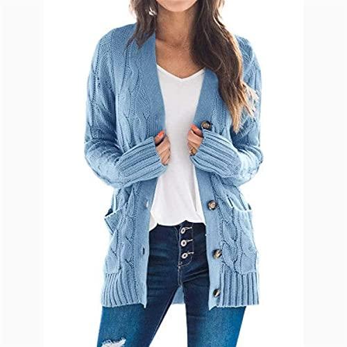yueyouhuyou cárdigan para Mujer Mujeres de Gran tamaño Cardigan Punto Lindo suéteres Chunky Wrap Wrap Off Open Front Punto de Punto Suelto y cómodo (Color : Blue, Size : XX-Large)