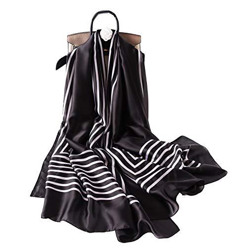 W.Best - Bufanda de seda para mujer, gran formato, multiusos, regalo de lujo para mujeres Azul blanco talla única