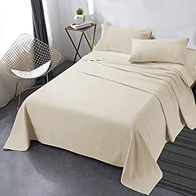 "Secura Everyday Luxury Queen Bed Sheet Set 4 Piece - Soft Microfiber 1800 Thread Count 16"" Deep Pocket Sheet Sets - Hypoallergenic, Wrinkle & Fade Resistant (Papaya Whip)"