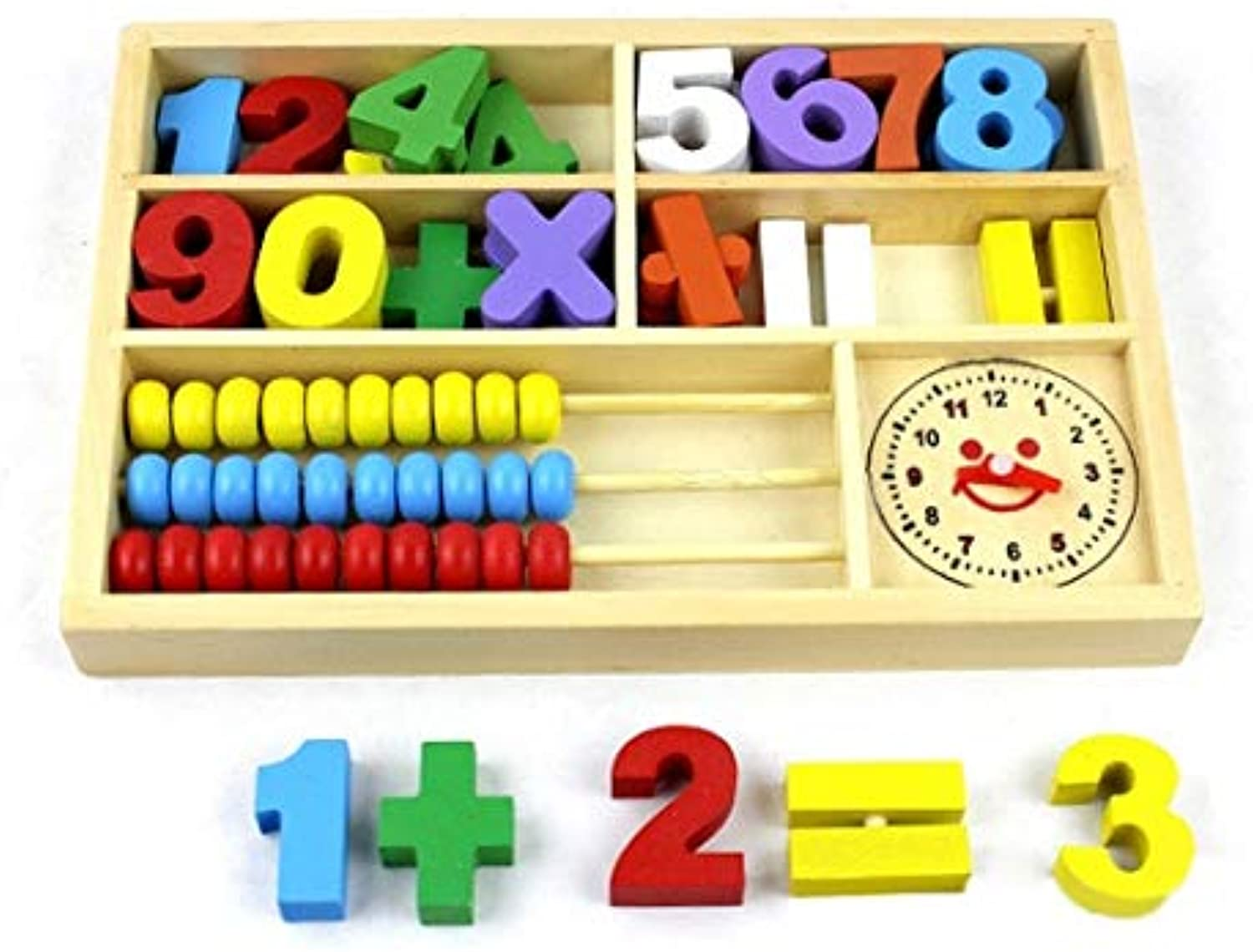 Laliva BOHS Mathematic Abacus Math Counting Calculating Learning Box Clock Multifunctional Wooden Educational Toys