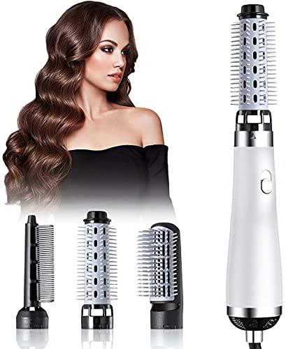 Cepillo de la máquina del cabello de 750 vatios Cepillo de secador de pelo de tres en uno, pelo corto con cepillo de aire caliente, secado y enderezado, secador de pelo portátil (blanco)