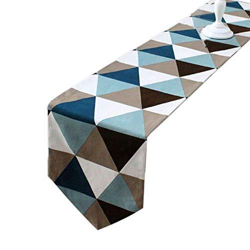 Deelan Moderno triángulo geométrico, estilo mesa L, decoración de mesa de tela de poliéster